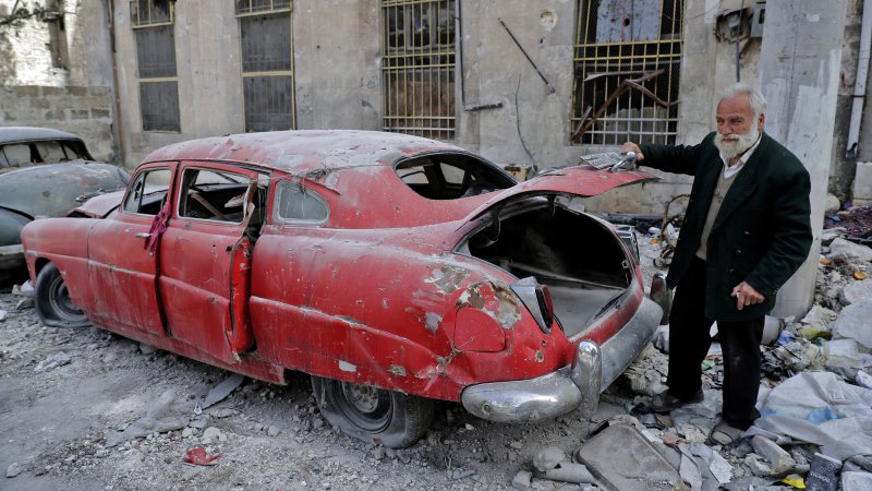 Syrian car collector returns to Aleppo to care for the remains of his fleet
